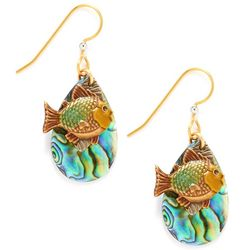 Silver Forest Gold Tone Fish Teardrop Earrings