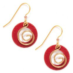 Silver Forest Red Donut Coil Spiral Drop Earrings