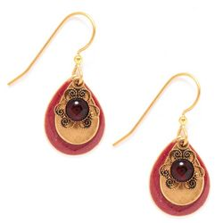 Silver Forest Red Layered Abalone Drop Earrings