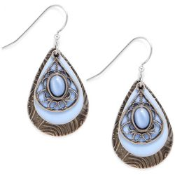 Silver Forest Blue Moonstone Filigree Earrings