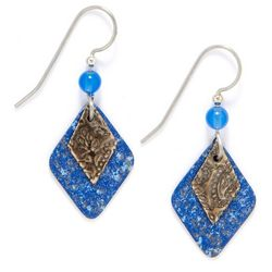 Silver Forest Blue Layer Drop Earrings