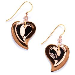 Silver Forest Double Heart Drop Fishhook Earrings