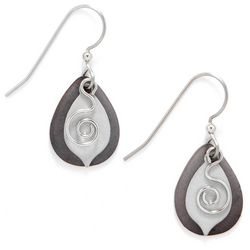 Silver Forest Layered Shell Drop Coil Earrings