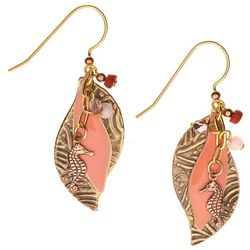 Silver Forest Sea Horse Coral Wave Drop Earrings