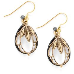 Silver Forest Oval Layered Dangle Earrings