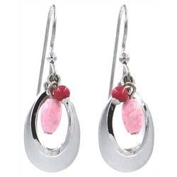 Silver Forest Silver Tone & Pink Bead Drop Earring
