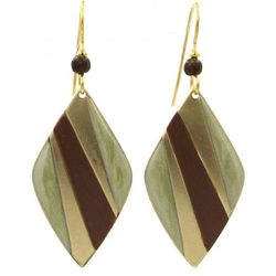 Silver Forest Abstract Brown Diamond Shaped Earrings