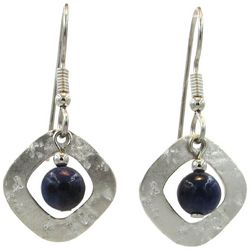 Silver Tone Square & Bead Drop Earrings