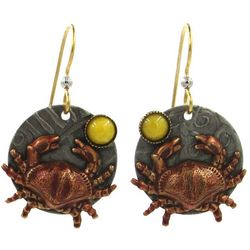 Silver Forest Coastal Crab Disc Drop Earrings