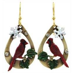 Silver Forest Cardinal & Snowflake Earrings