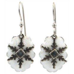 Silver Forest Snowflake Drop Earrings