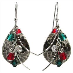 Silver Forest Multi Layered Beads Teardrop Earrings