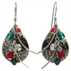 Silver Forest Multi Layered Beads Teardrop Earrings