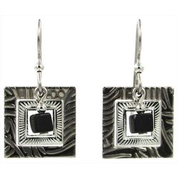 Silver Forest Textured Squares & Black Bead Earrings