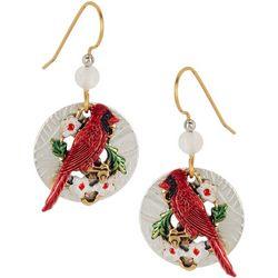 Silver Forest Cardinal Dangle Earrings