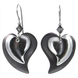 Silver Forest Silver Tone Fancy Heart Drop Earrings