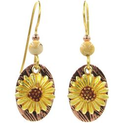 Silver Forest Sunflower Layered Drop Earrings