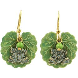 Silver Forest Lily Pad & Frog Layered Drop Earring