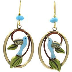 Silver Forest Hummingbird Oval Drop Earrings