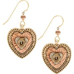 Silver Forest Tri Tone Hearts Earrings