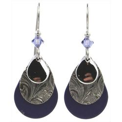Silver Forest Blue Layered Teardrop Earrings