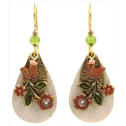 Silver Forest Spring Floral Teardrop Earrings