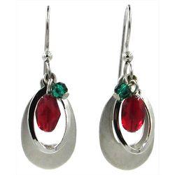 Silver Forest Beaded Teardrop Earrings