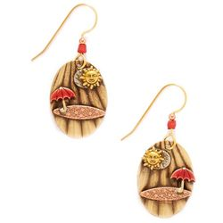 Silver Forest Umbrella On The Beach Earrings