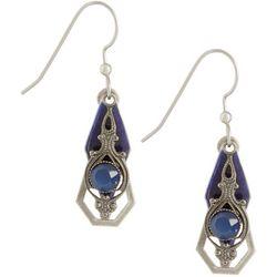 Silver Forest Blue Enamel Stone Layered Earrings
