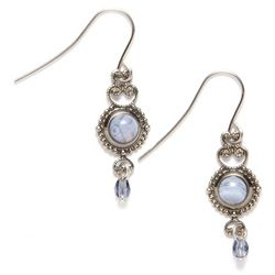 Silver Forest Blue Lace Agate Earrings