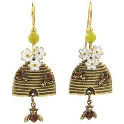 Silver Forest Beehive Flower Dangle Earrings
