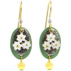 Silver Forest Flower Layered Dangle Earrings