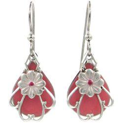 Silver Forest Flower Filigree Dangle Earrings