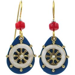 Silver Forest Shipwheel Blue Teardrop Earrings