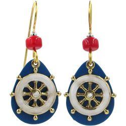 Silver Forest Shipwheel Blue Teardrop Earrings