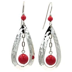 Silver Forest Red Bead Hammered Teardrop Earrings
