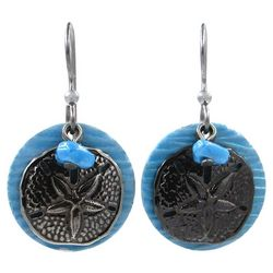 Silver Forest Blue Disc Sand Dollar Earrings