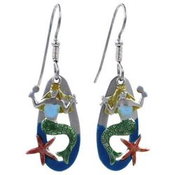 Silver Forest Mermaid & Starfish Overlay Earrings