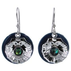 Silver Forest Blue Disc Silver Tone Clam Shell Earrings