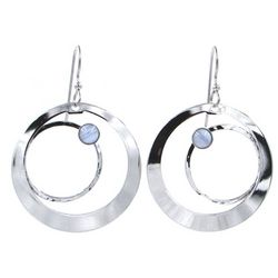 Silver Forest Silvertone Double Ring Earrings