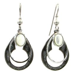 Silver Forest Teardrop Layered Oval Stone Earrings