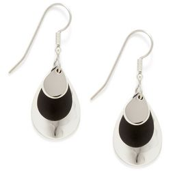 Silver Forest Oval Black Drop Earrings