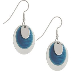 Silver Forest Oval Blues Earrings