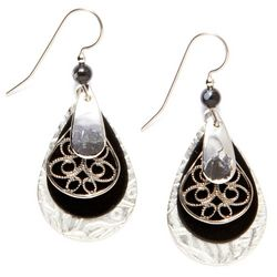 Silver Forest Layered Teardrop Filigree Earrings