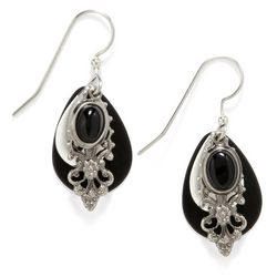 Silver Forest Filigree Teardrop Dangle Earrings