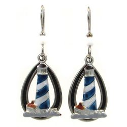 Silver Forest Lighthouse Teardrop Earrings