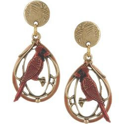 Silver Forest Red Cardinal Layered Earrings