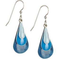 Silver Forest Blue Enamel Teardrop Earrings