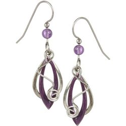 Silver Forest Purple & Silver Tone Earrings
