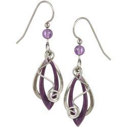 Silver Forest Purple & Silver Tone Earrings